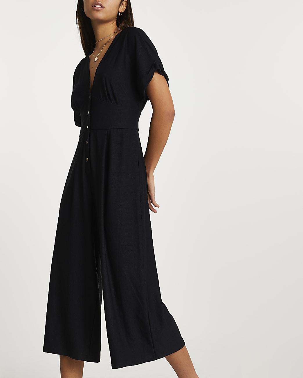 Black short sleeve button front jumpsuit