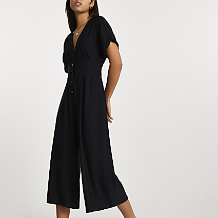 Black short sleeve button front jumpsuit
