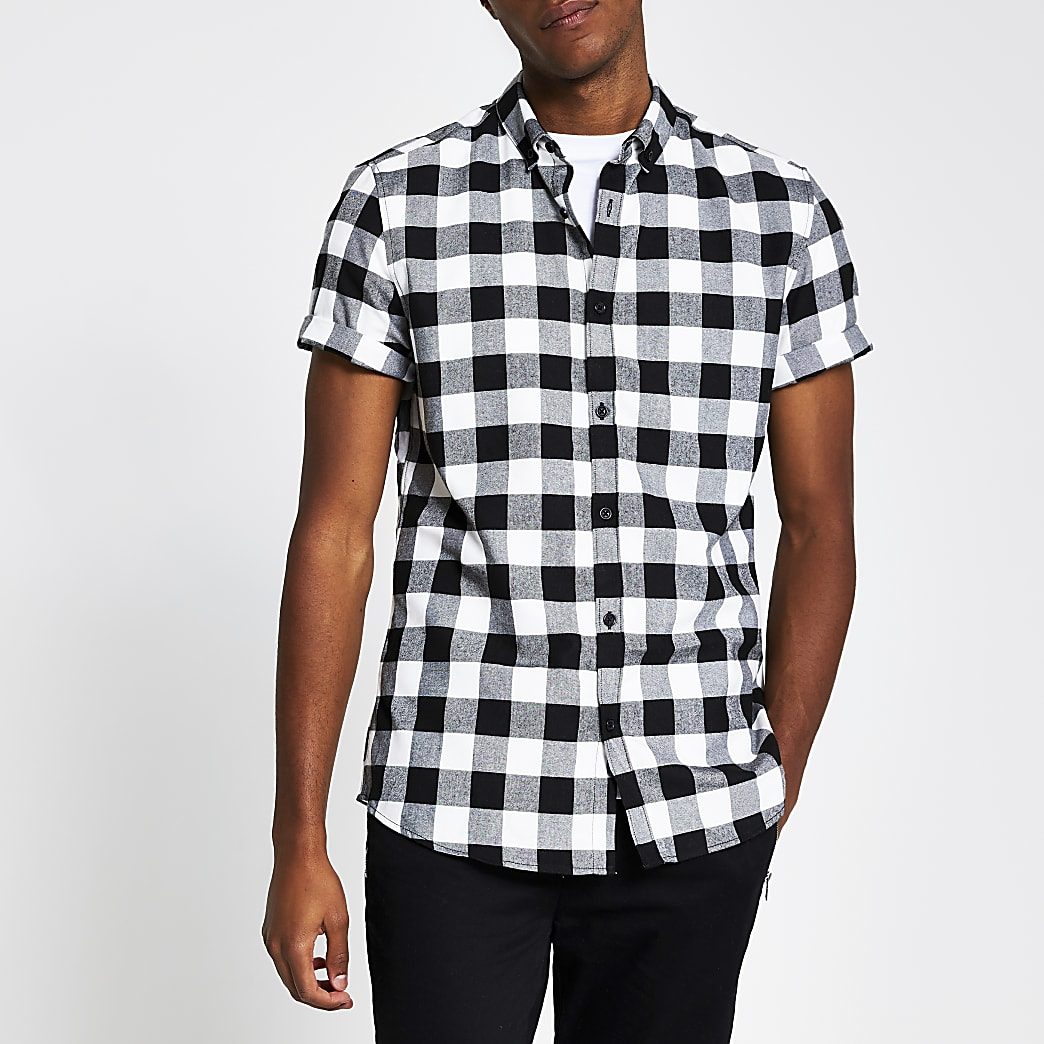 Black short sleeve check regular fit shirt
