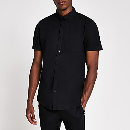 Black short sleeve chest pocket Oxford shirt