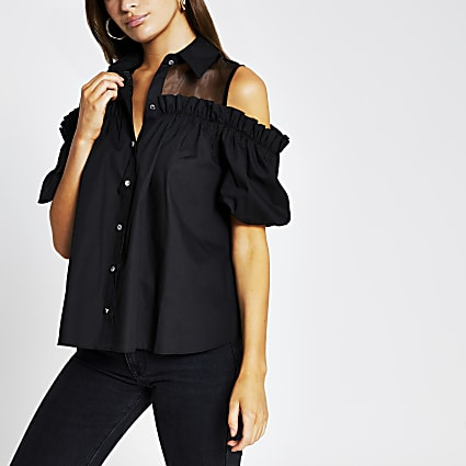 Black short sleeve collar neck shirt