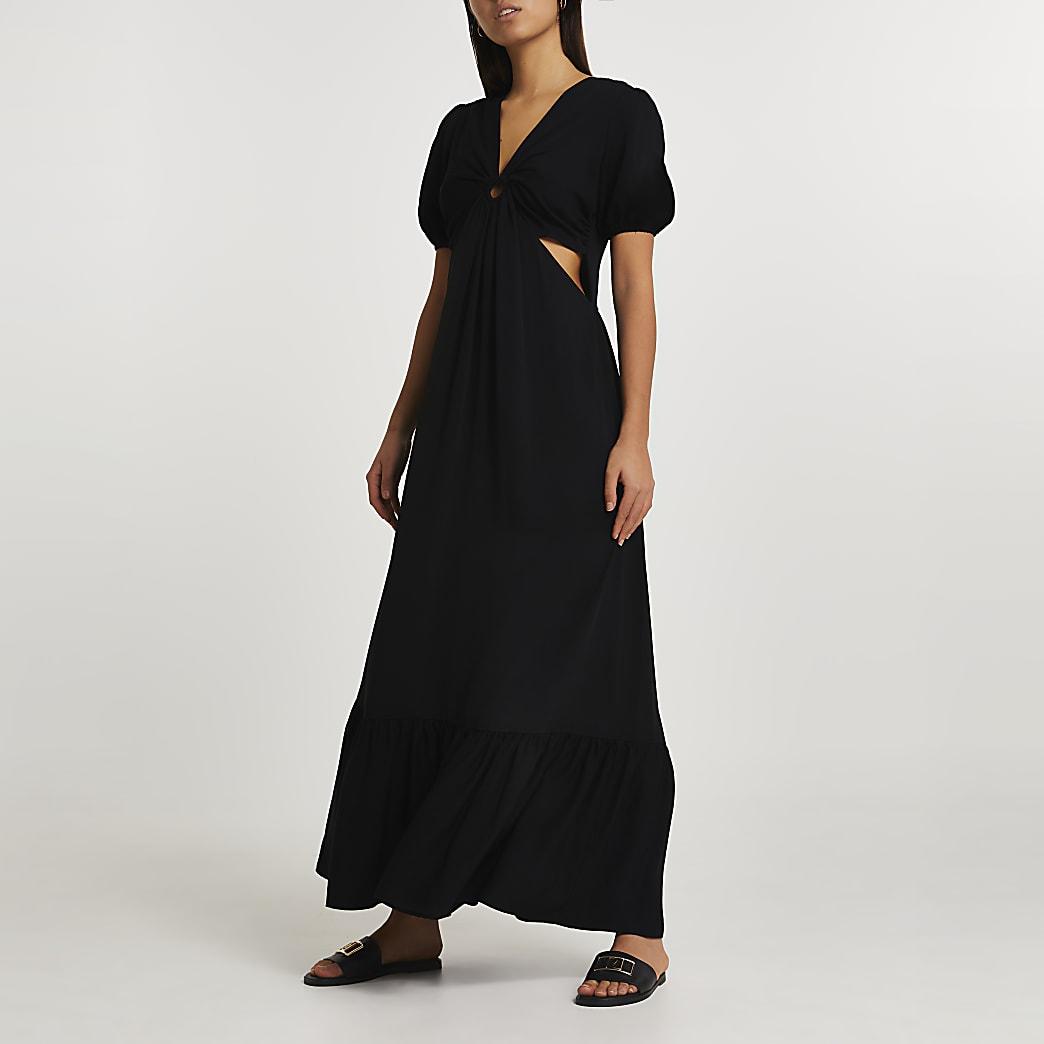 Black short sleeve cut out midi dress