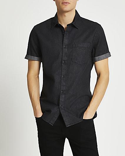 Black short sleeve denim shirt