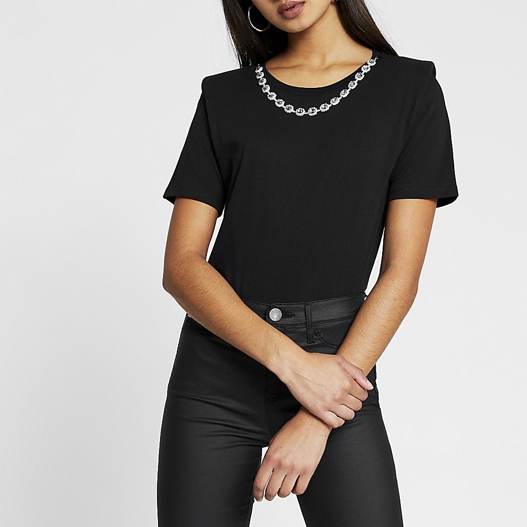 Black short sleeve diamante necklace t-shirt
