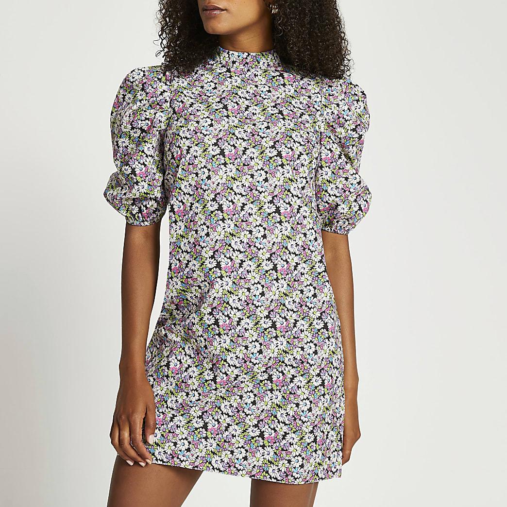 Black short sleeve floral shift mini dress