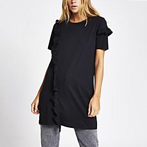 Zwart jumbo T-shirt met korte mouwen en ruches voor