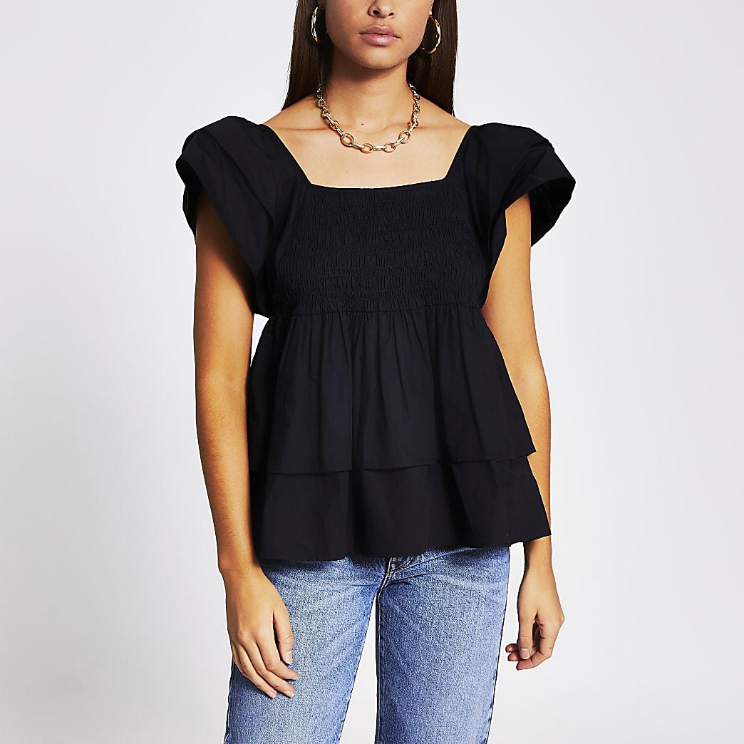 Black short sleeve frill layered poplin top