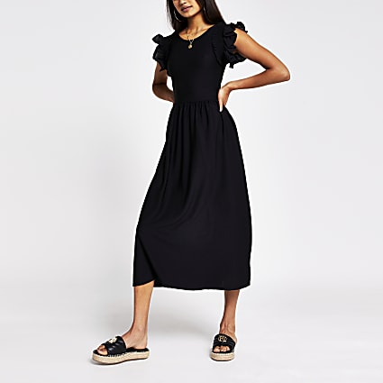Black short sleeve frill midi dress