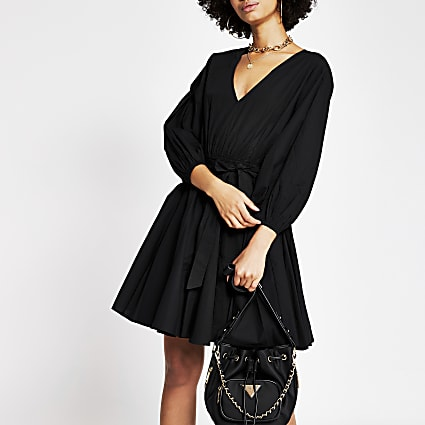 Black short sleeve full skirt mini dress