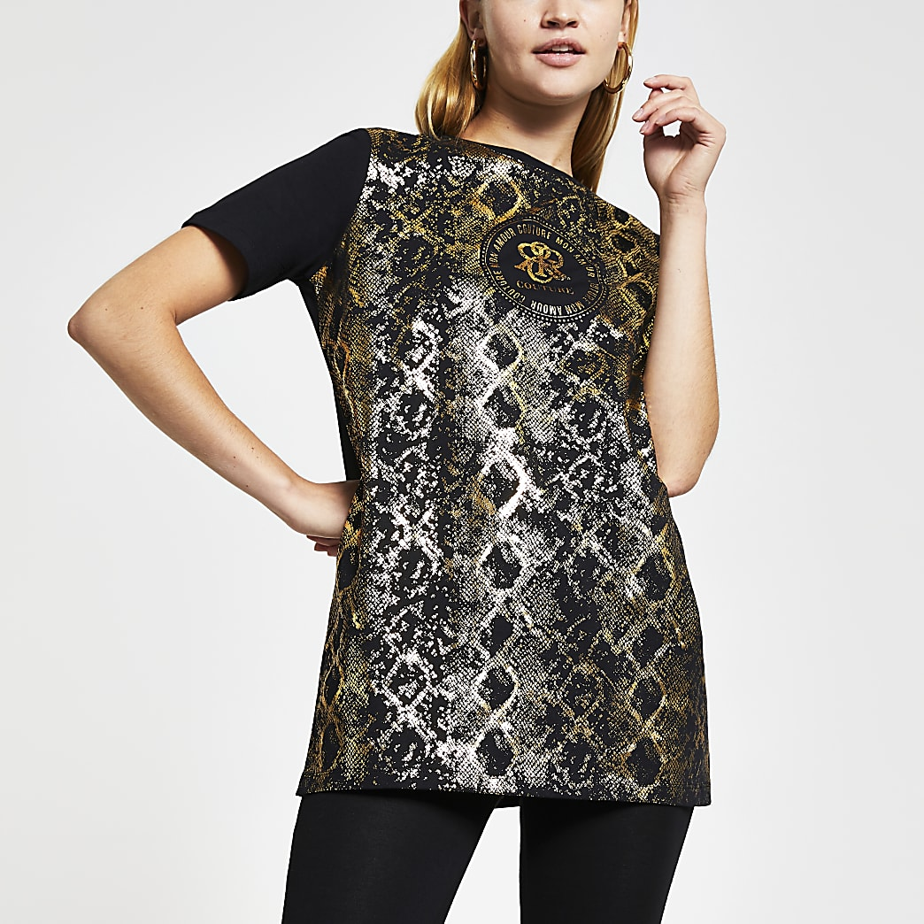 Black short sleeve gold foil snake t-shirt