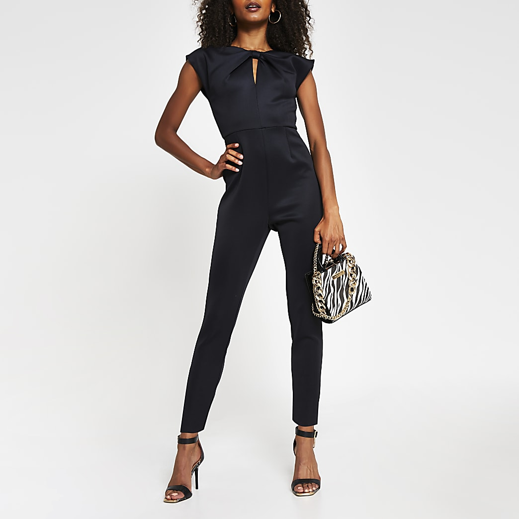 Black short sleeve high neck jumpsuit