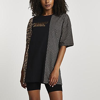 Black short sleeve leopard oversize t-shirt