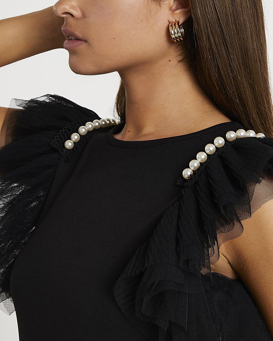 Black short sleeve mesh pearl top