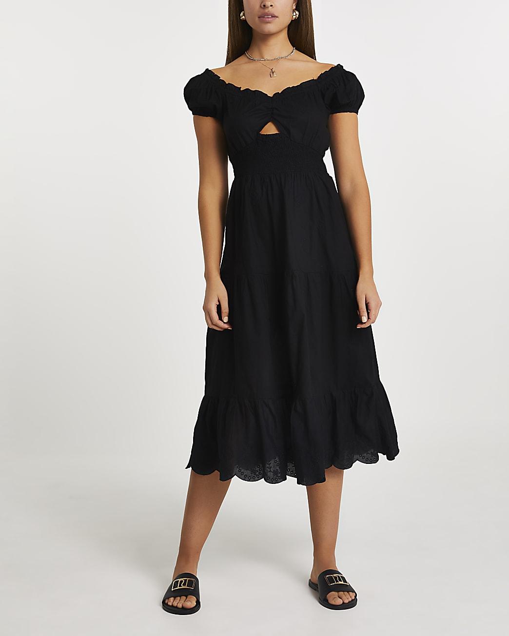 Black short sleeve midi dress