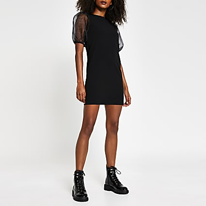 Black short sleeve organza dress