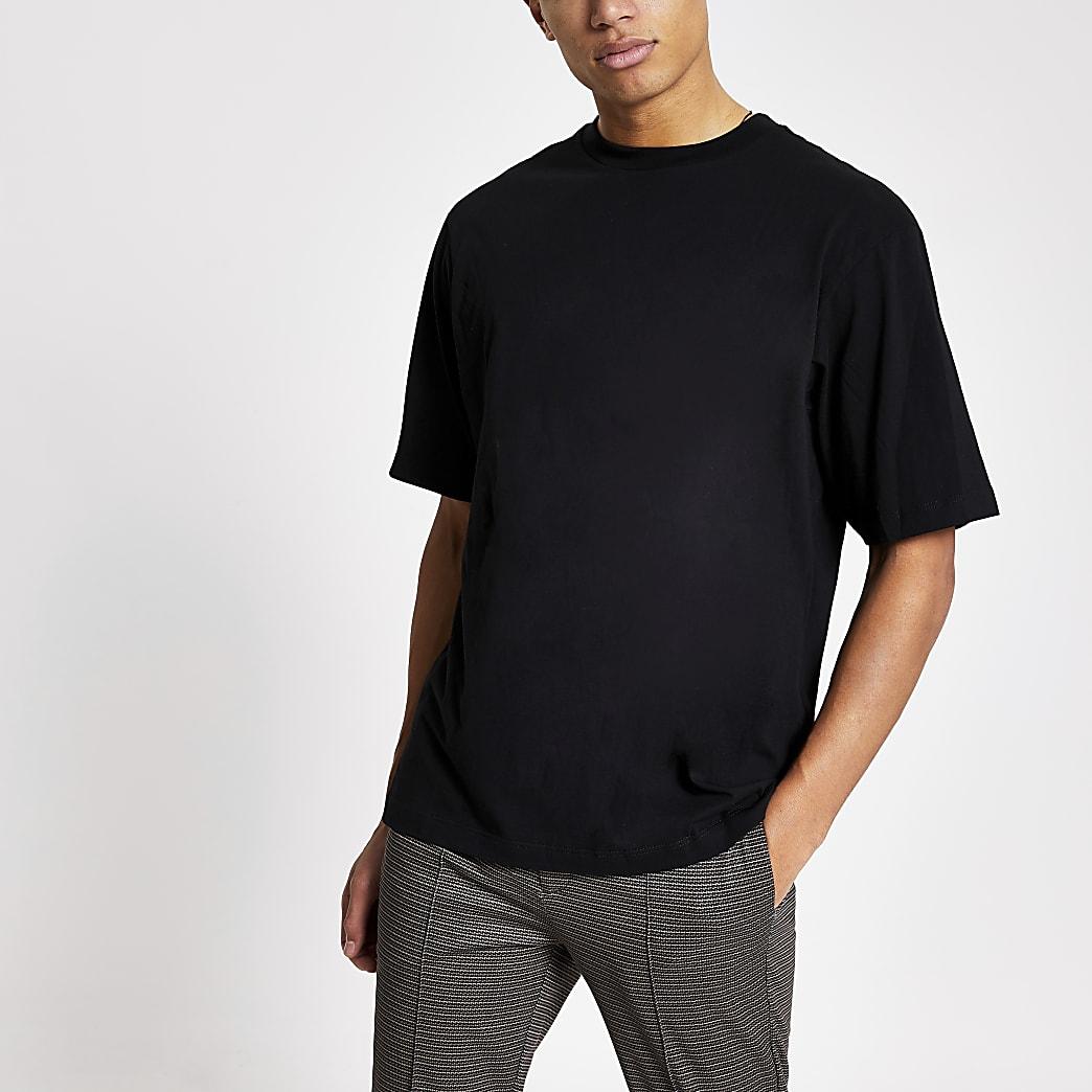 Zwart oversized-fit T-shirt met korte mouwen
