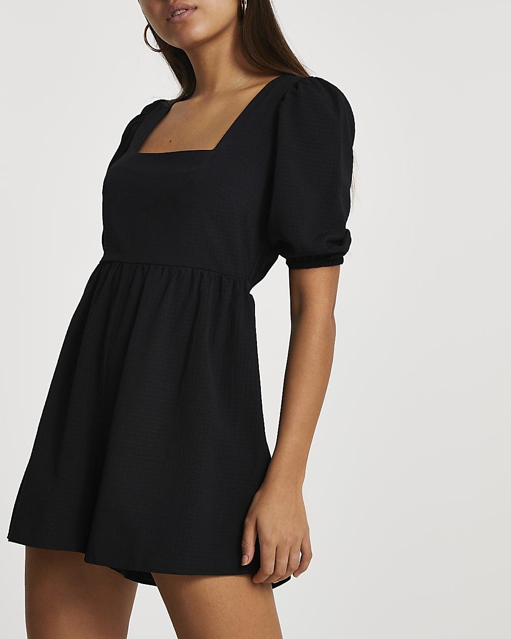 Black short sleeve playsuit