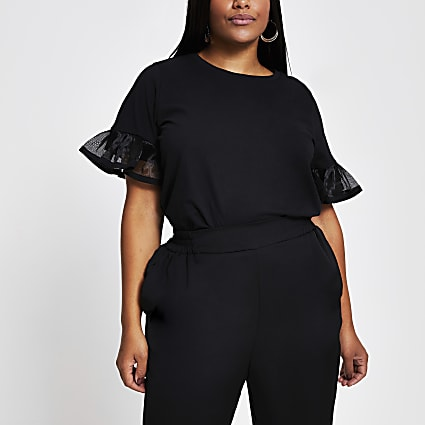 Black short sleeve pleat frill sleeve detail