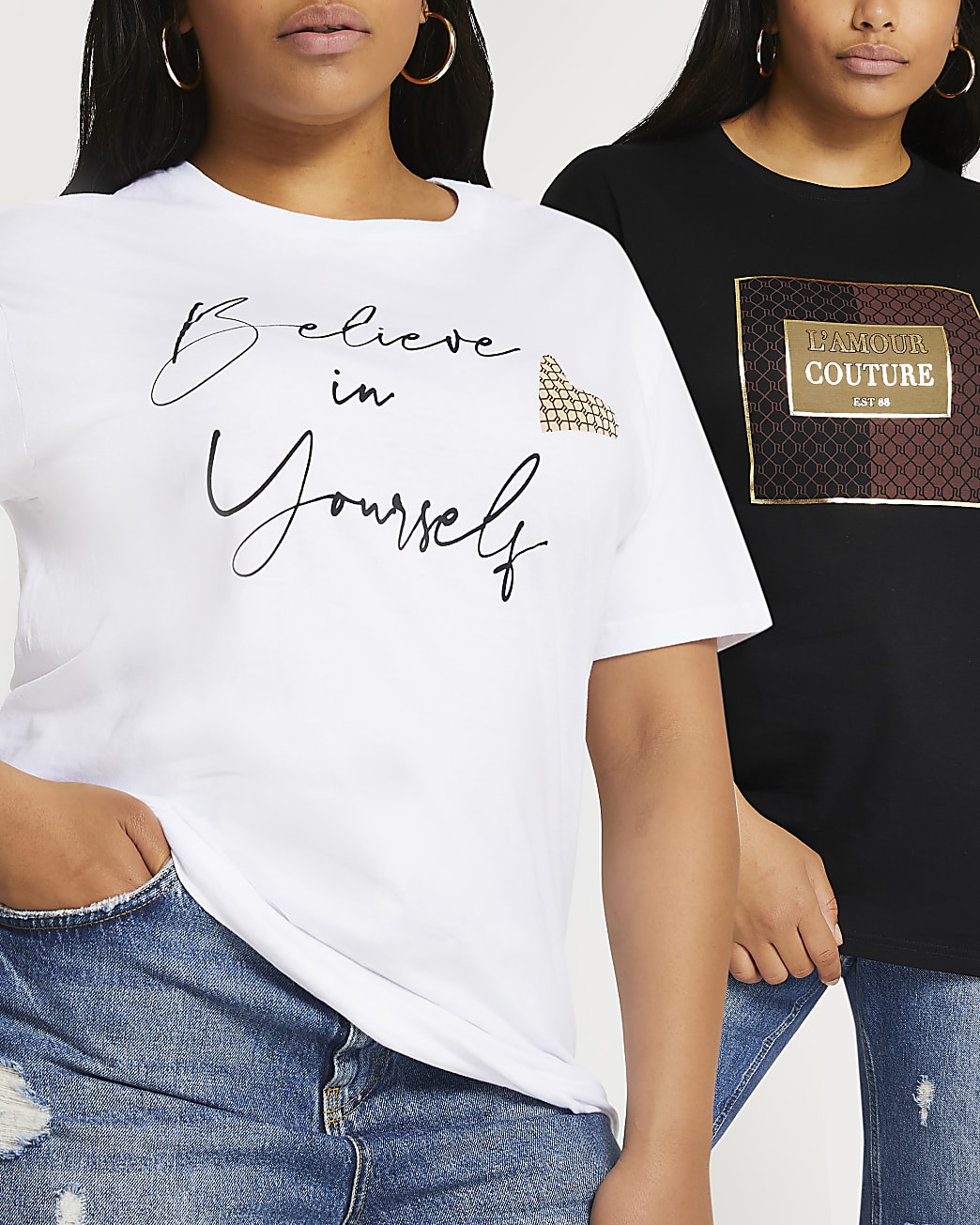 Black short sleeve printed t-shirts 2 pack