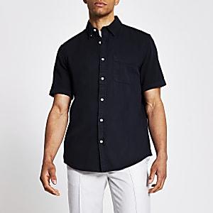 Zwartregular-fit overhemd met korte mouwen van keperstof