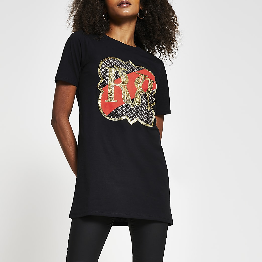 Black short sleeve RI monogram sequin t-shirt