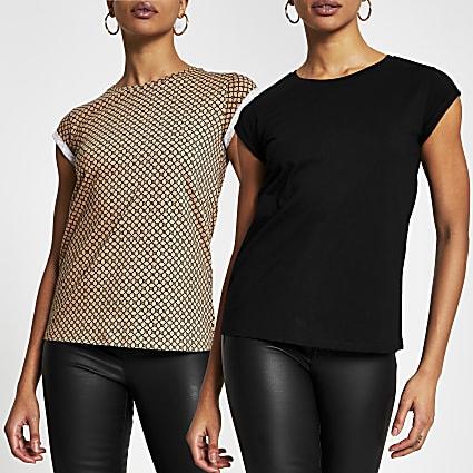 Black short sleeve RI print t-shirts 2 pack