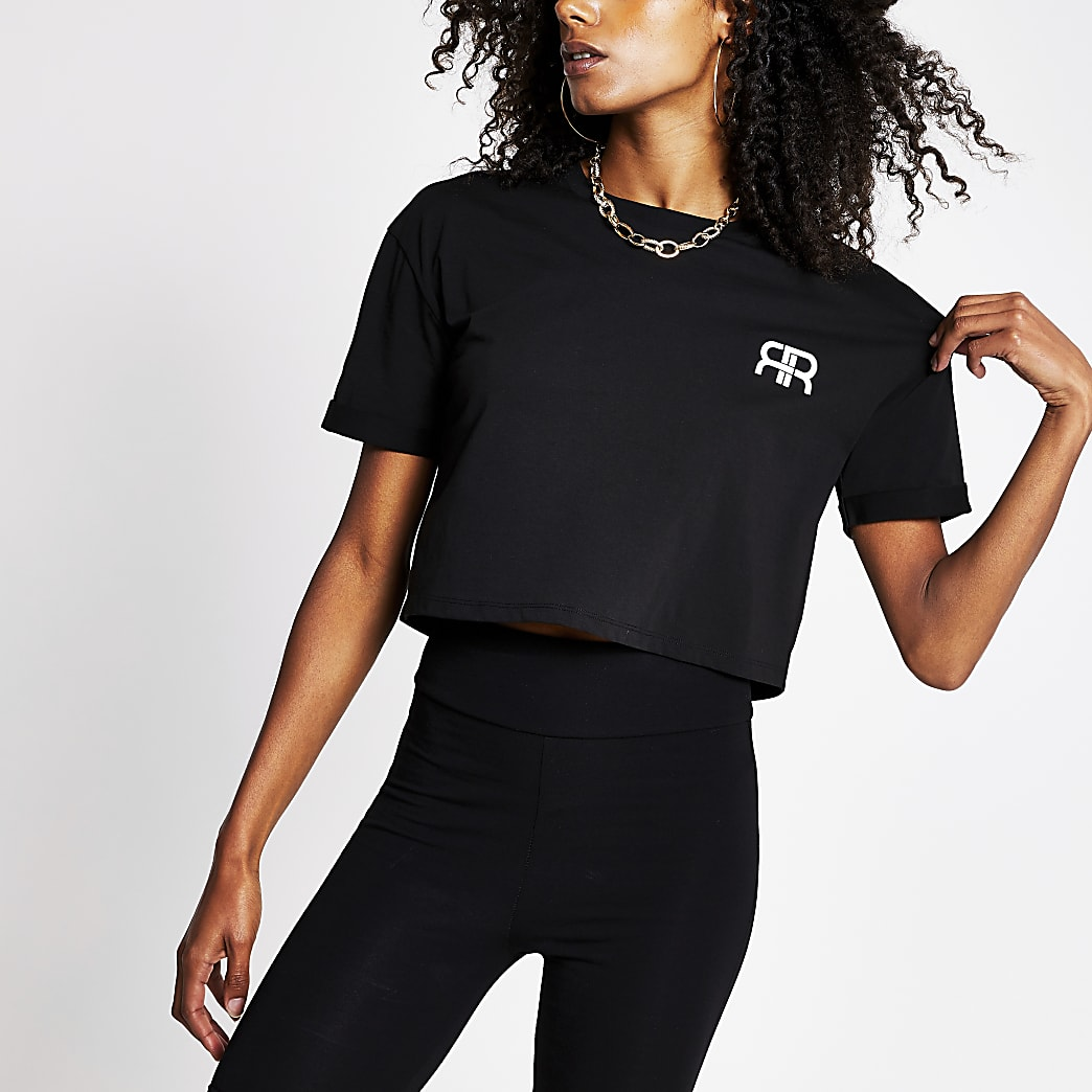 Black Short Sleeve RR Crop T-Shirt