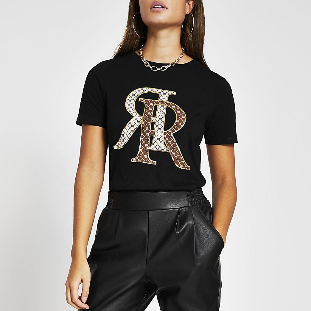 Black short sleeve 'RR' print t-shirt