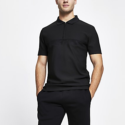 Black short sleeve slim fit polo shirt
