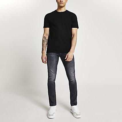 Black short sleeve slim fit t-shirt