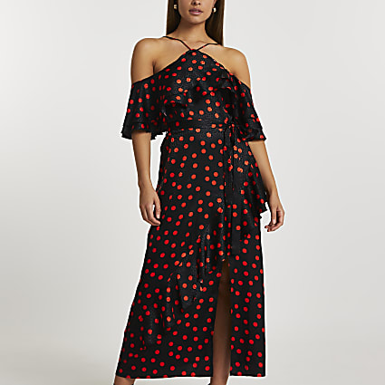 Black short sleeve spot frill maxi dress