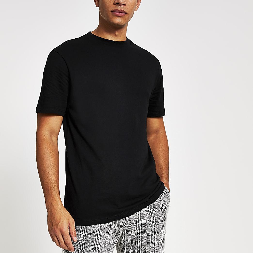 Zwart effen T-shirt met korte mouwen