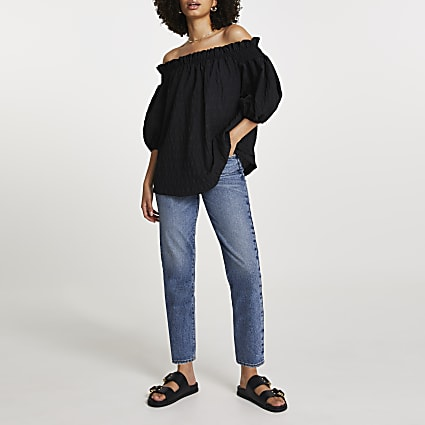 Black short sleeve textured bardot top