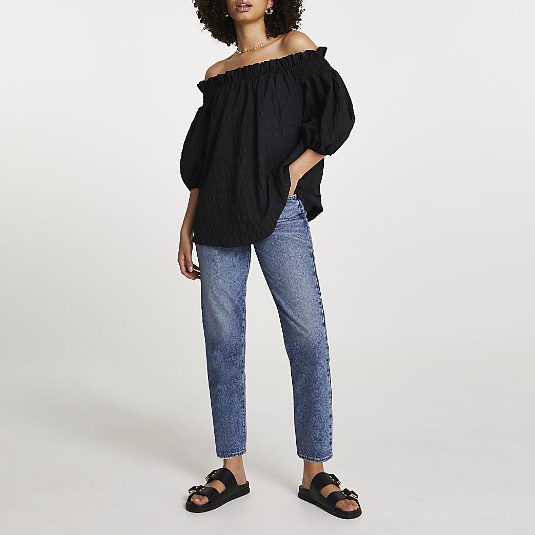 Black short sleeve textured bardot top