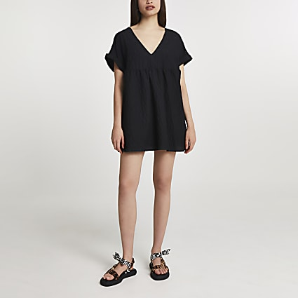 Black short sleeve textured playsuit