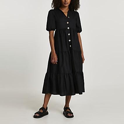 Black short sleeve tier shirt midi dress