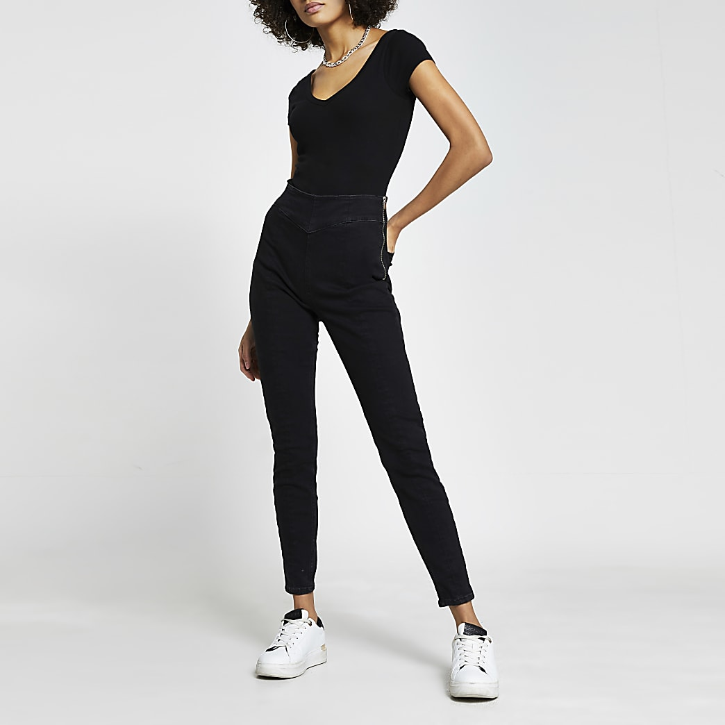 Black short sleeve v front v back bodysuit