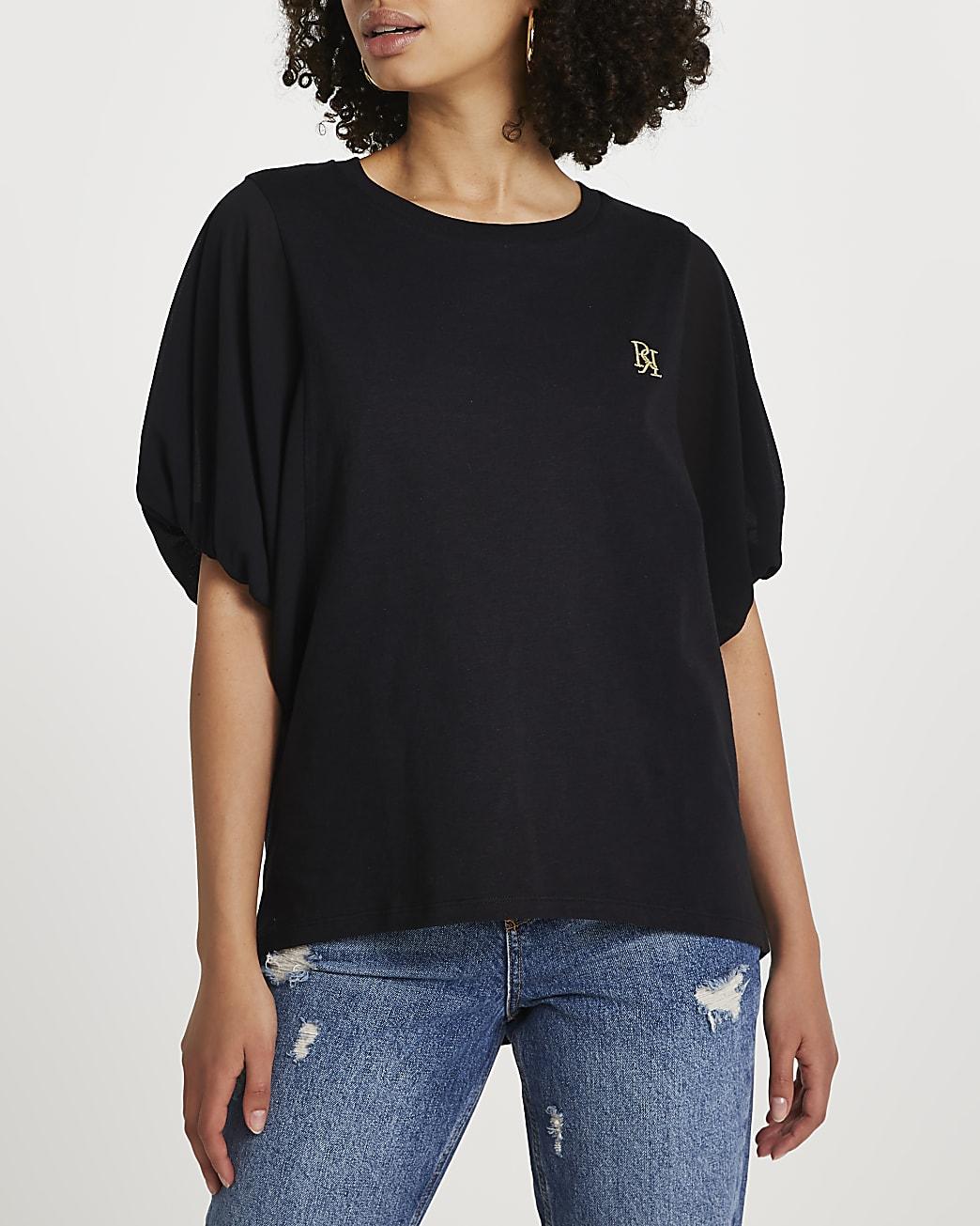 Black short sleeve woven batwing top