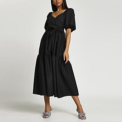 Black short sleeve wrap tier midi dress