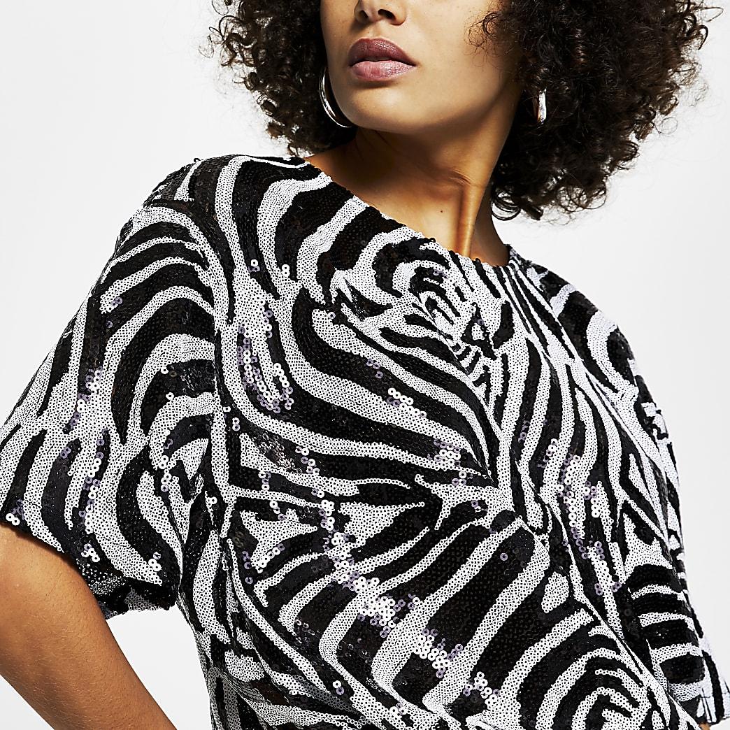 Black short sleeve zebra print sequin t-shirt