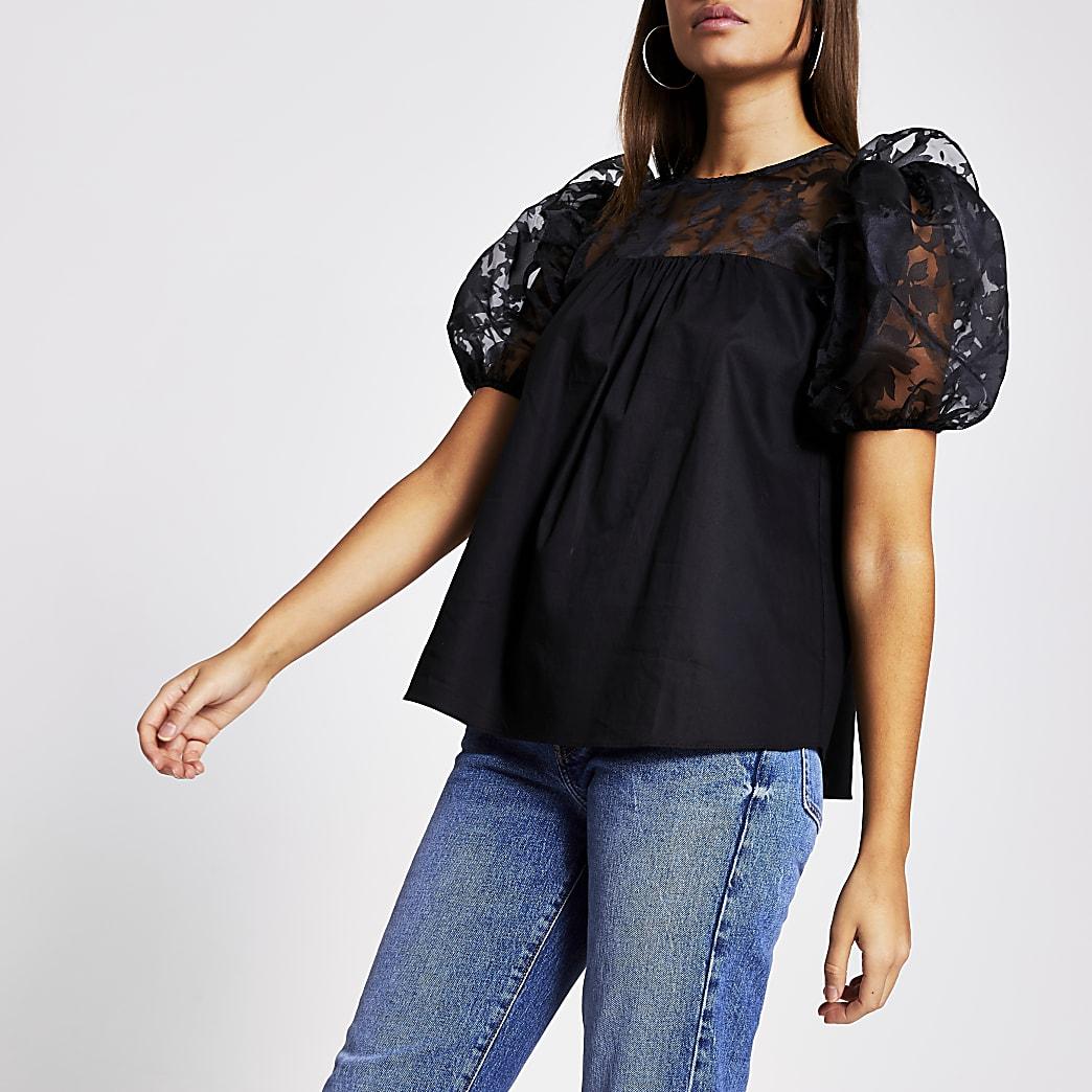 Black short sleeved poplin detail tee