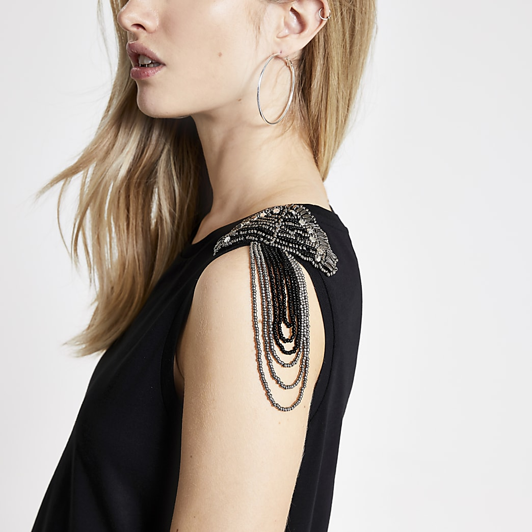 Black shoulder embellished tank top