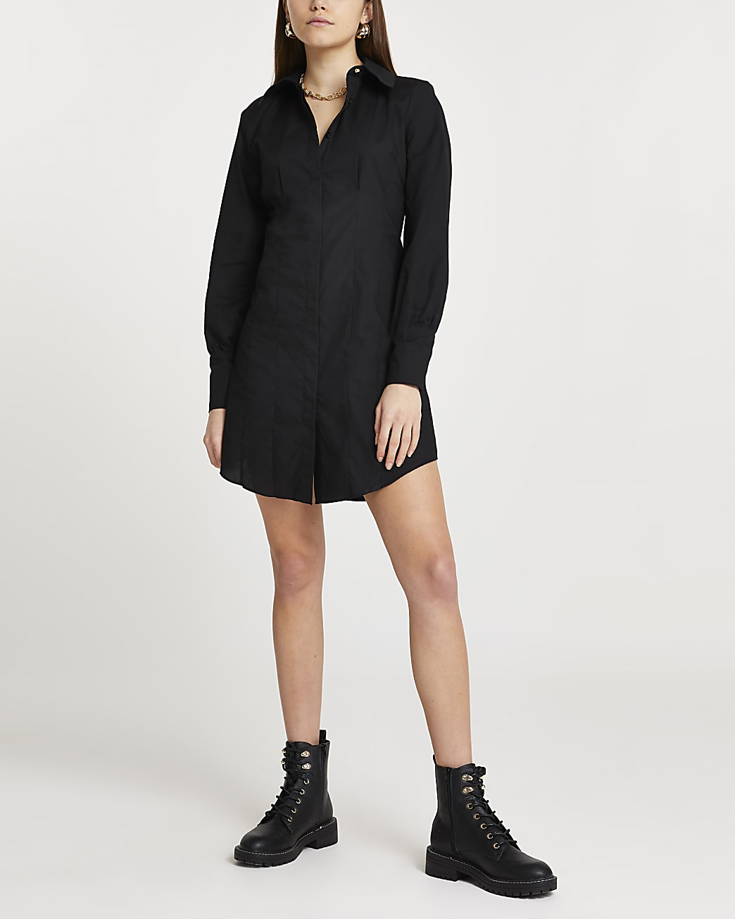 Black shoulder pad long sleeve shirt dress