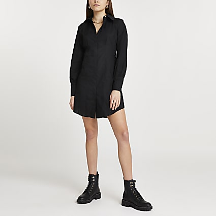 Black shoulder pad long sleeve shirt dress