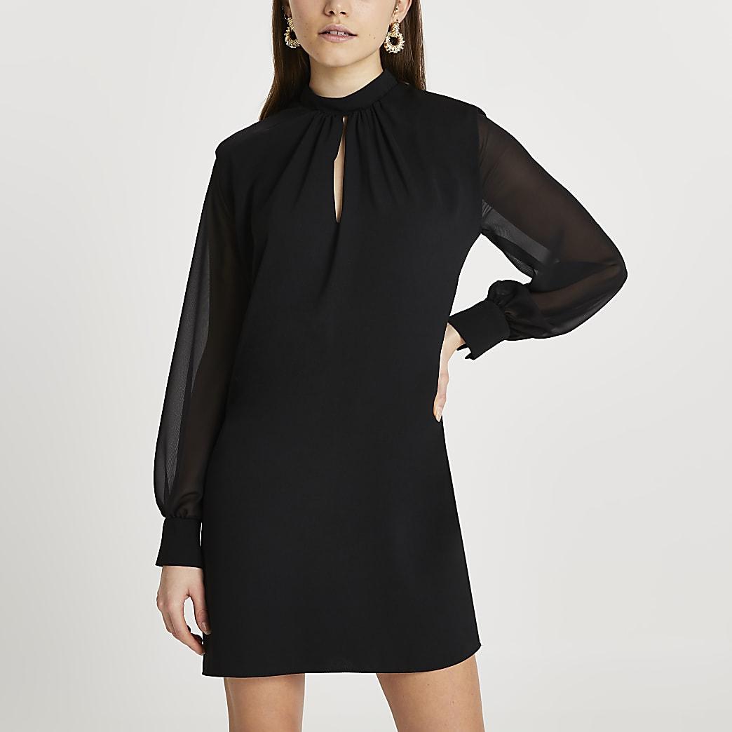 Black shoulder padded mini dress