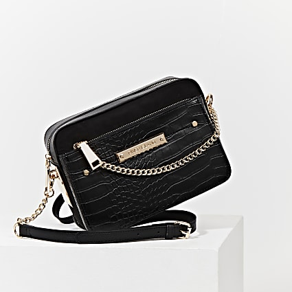 Black side chain boxy cross body handbag
