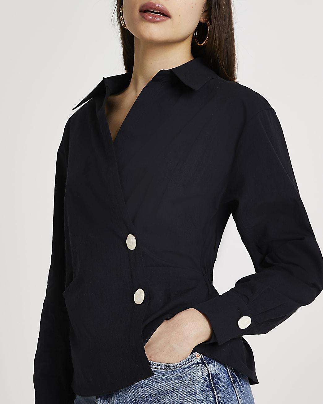 Black side tuck long sleeve shirt