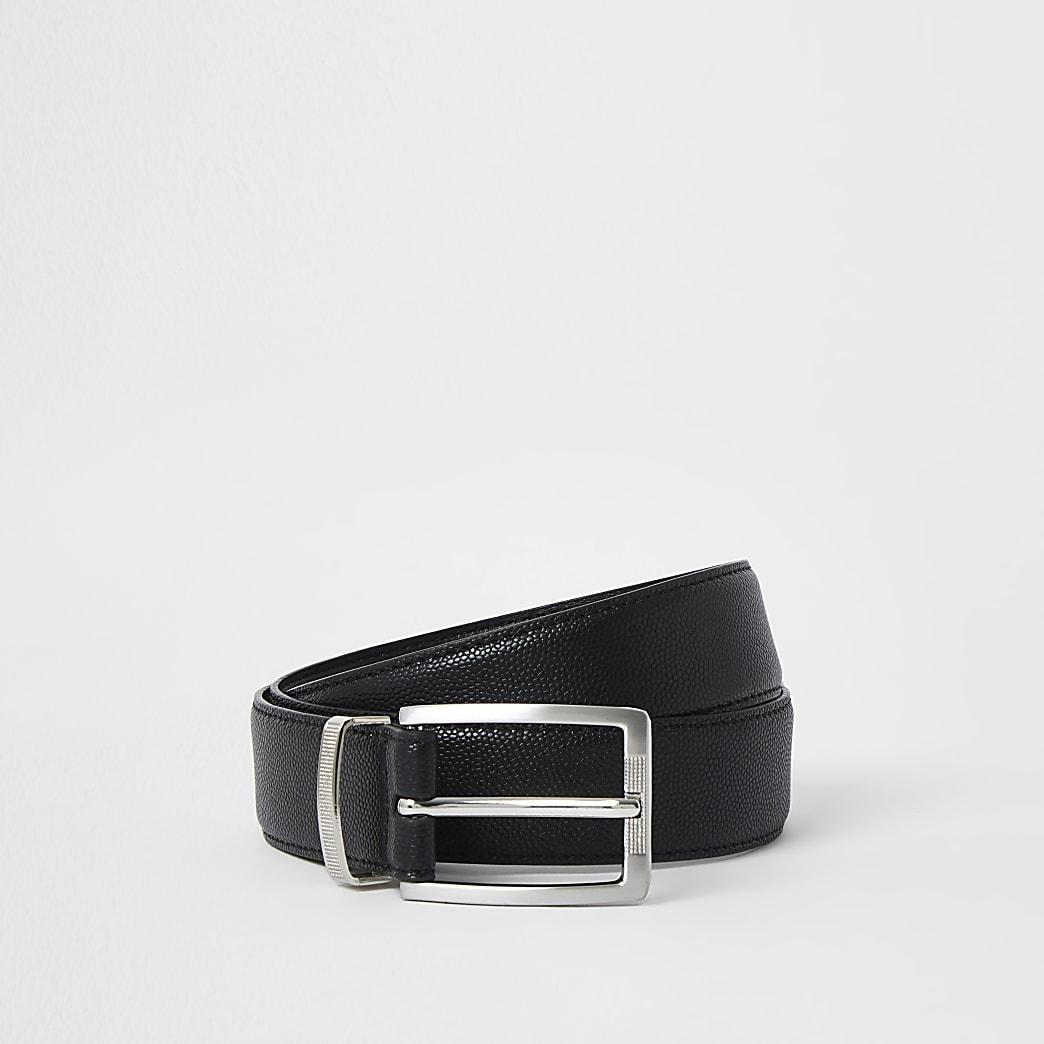 Black silver buckle belt