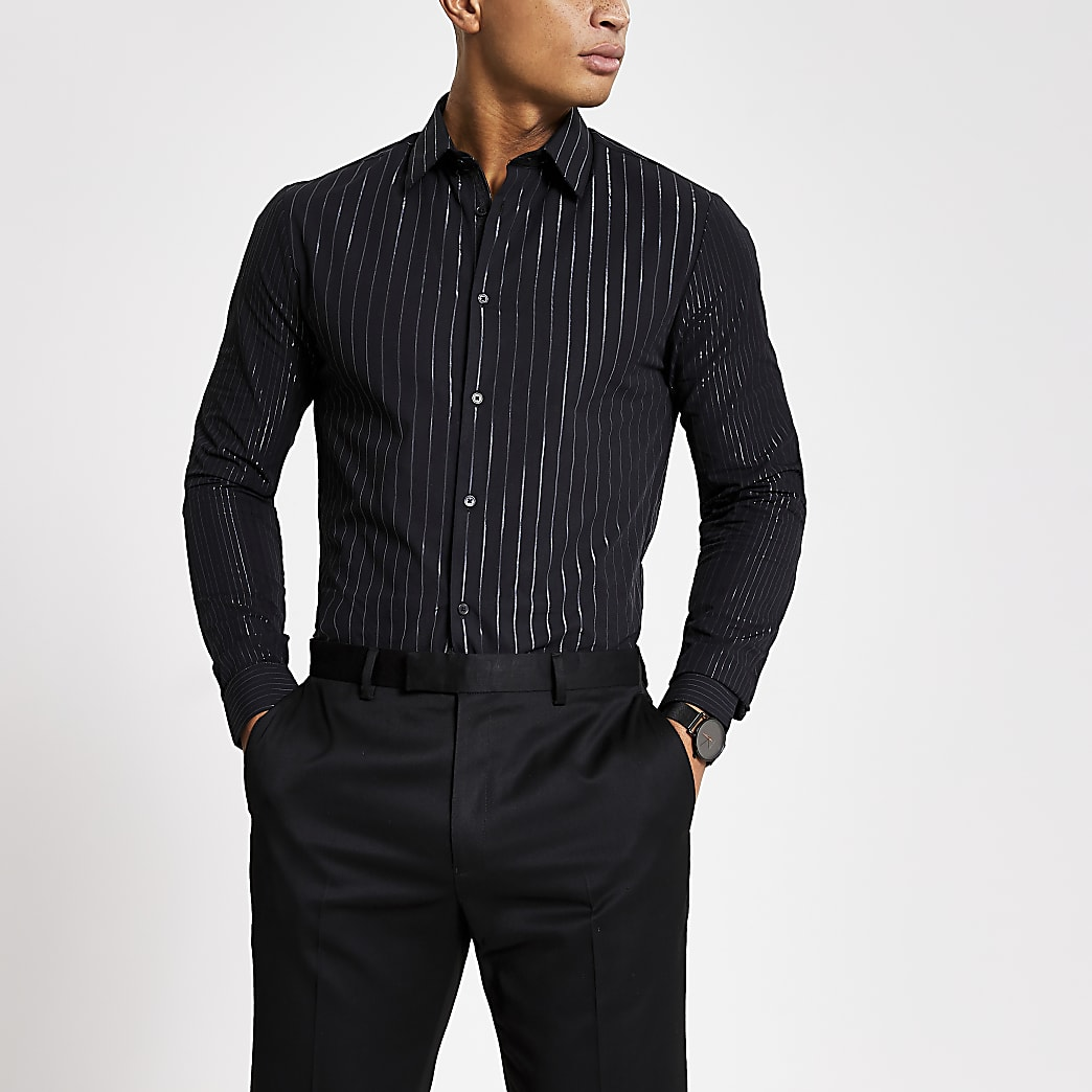 Chemise noire  manches longues à rayures argentées