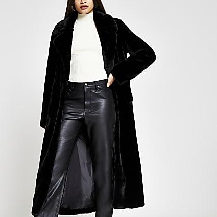 Black single breasted faux fur coat